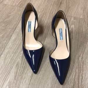 Prada blue Patton leather pointed heels